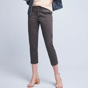 Cropped grey chinos by Anthropologie